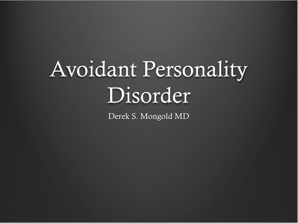 Avoidant personality disorder dating site